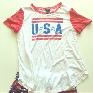 Modern Lux USA red white & blue sheer t-shirt XL